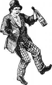 Illustration d'un homme ivre buvant du gin