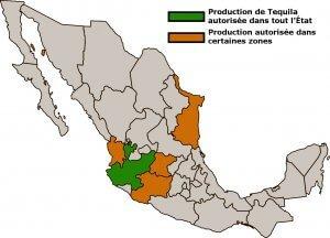 Carte indiquant les États mexicains ayant le droit de produire de la tequila