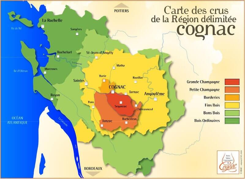 La carte des crus de Cognac