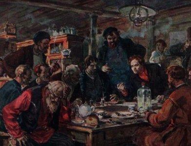 "Peinture représentant une ""kabak"" - taverne russe"