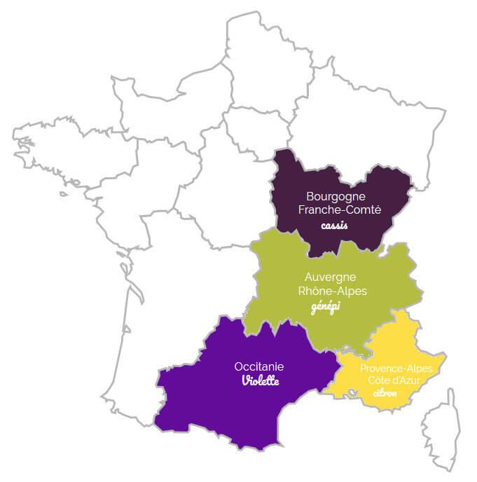 Carte de France des liqueurs régionales