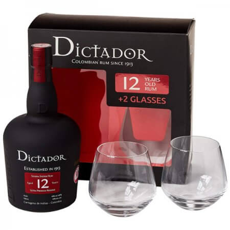 Coffret rhum Dictador 12 ans avec 2 verres