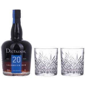 Rhum Dictador 20 avec 2 verres Tumbler
