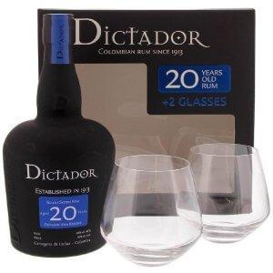 Coffret Dictador 20 ans avec 2 verres