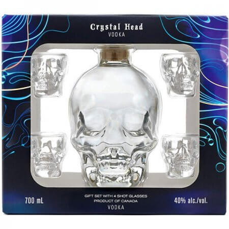 Vodka Crystal Head en coffret avec 4 verres tête de mort