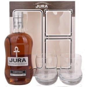 Coffret Whisky Jura Superstition avec 2 verres
