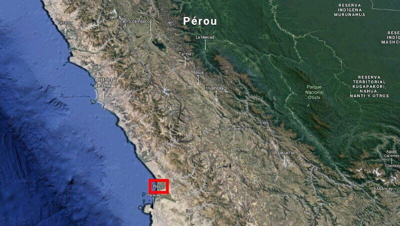 Carte du Pérou avec la ville de Pisco