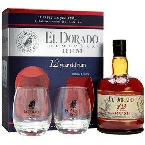 Coffret Rhum El Dorado avec 2 verres