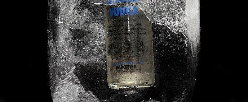 Vodka Absolut dans la glace