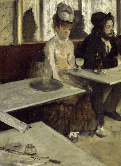 Peinture de Degas Dans un Café ou L'absinthe