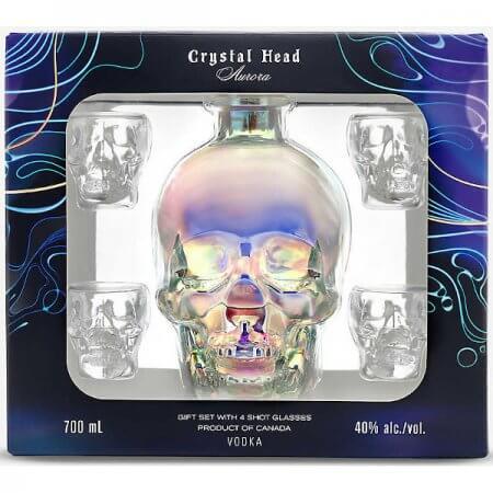 Vodka Crystal Head Aurora - Coffret 4 verres