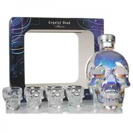 Vodka Crystal Head Aurora avec 4 verres