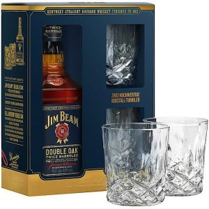 Coffret Jim Beam Double Oak + 2 verres Tumbler