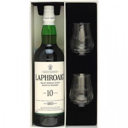 Coffret whisky Laphroaig avec 2 verres