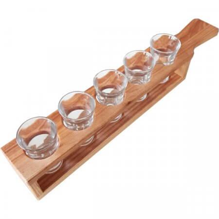 Demi-mètre de shooters en bois avec 5 verres