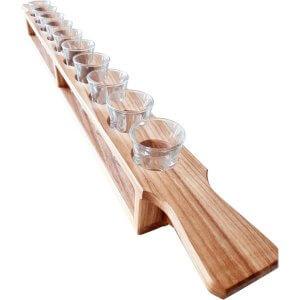 Mètre de shooters en bois avec 10 verres