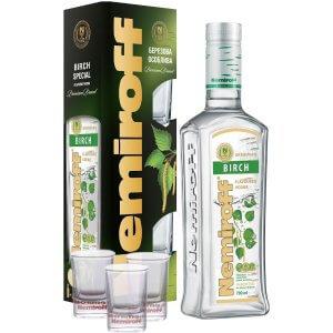 Vodka Nemiroff Birch (Bouleau) + 3 verres